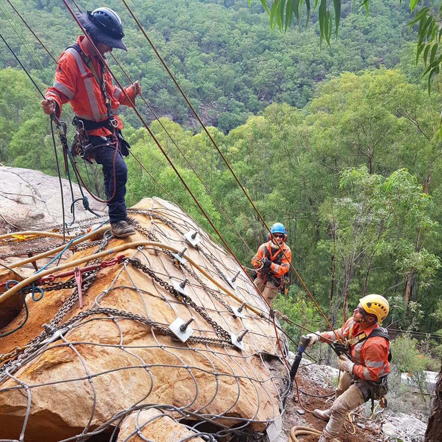 Standby Rescue - Industrial Rope Access - Geotechnical Rope Access Services - Rock Scaling - Rock Scaling - Rock Removal - Rock Meshing - Rock Bolting - Geologist Support - Geologist Mapping - Inspections - Hazard Reports - Devegetation
